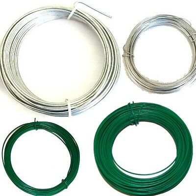 Green PVC/ Galvanised Garden Wire Heavy Duty Fencing Wire Size/length Choice
