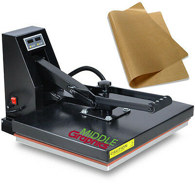 "New 16x 20"" Flat T-shirt Heat Press with Teflon-coated heat element"