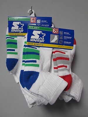 Starter Boys' Ankle Socks 6 Pair Shoe Size M (10-2 1/2) Now TWO PACKS!!! 12 Pair