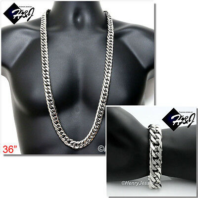 "36""MEN Stainless Steel WIDE 16x5mm Silver Cuban Curb Chain Necklace Bracelet SET"
