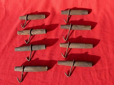 Antique Early 1800's MAPLE TREE 8 WOODEN SUGAR SYRUP TAPS w Original Pail Hooks