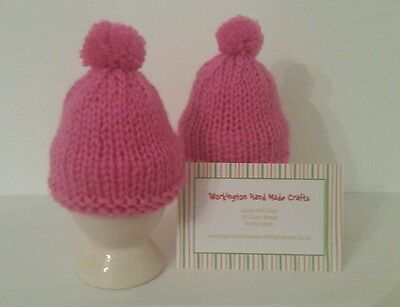 Hand Knitted Pair of Egg Cosies - Bright Pink