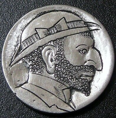 Detailed Hobo Buffalo Nickel Hand Carved Man in Derby With Bow And Beard T227