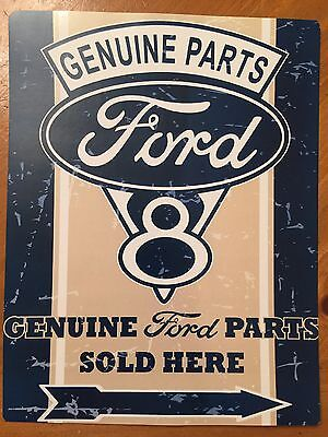 Tin Sign Vintage Ford V8 Genuine Parts Sold Here