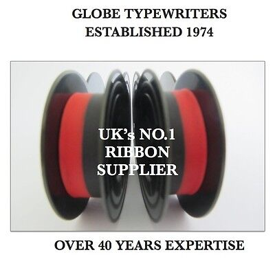 2 x 'OLYMPIA SPLENDID 99' BLACK/RED TOP QUALITY *10 METRE* TYPEWRITER RIBBONS