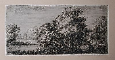 David Charles Read (1790-1851) Etching of a landscape with figure beside a lake.