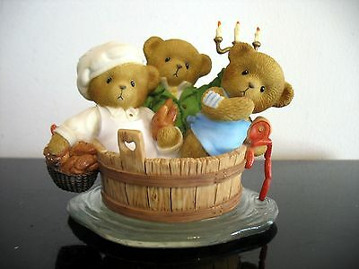 Rare Enesco Cherished Teddies Lucas & Joshua Zachary figurine rub a dub in a tub