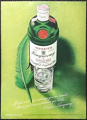 Vintage 1973 Tanqueray gin Magazine Ad Print- green feather, ordinary bottle