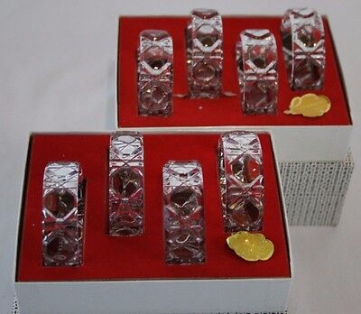 VINTAGE Set of 8 24% Lead Crystal Thick Glass Napkin Rings Made in Germany EUC