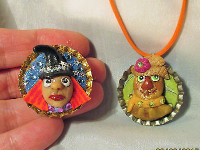 WITCH AND SCARECROW Necklace Magnet OOAK Polymer Clay Halloween decoration CHARM