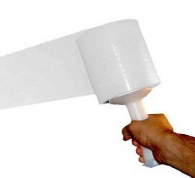 """3"""" x 1000' 80 Ga White Color Hand Stretch Wrap Banding 18 Rolls / Case"""