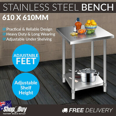 Commercial Stainless Steel Kitchen Work Bench Food Preparation Table Top 610mm