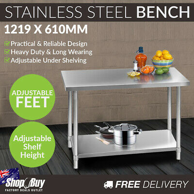 Commercial Stainless Steel Kitchen Work Bench Food Preparation Table Top 1219mm