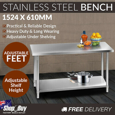 Commercial Stainless Steel Kitchen Work Bench Food Preparation Table Top 1524mm