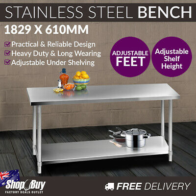 Commercial Stainless Steel Kitchen Work Bench Food Preparation Table Top 1829mm