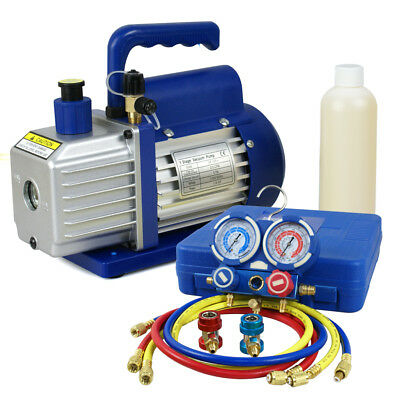 R134A AC Refrigeration Kit A/C Manifold Gauge & 1/4HP 3,5 CFM Air Vacuum Pump