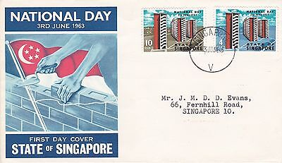 SINGAPORE 1963 NATIONAL DAY First Day Cover CODE V Singapore Postmark REF:912