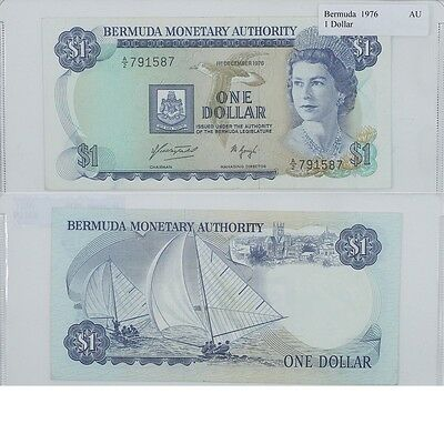 1976 1 dollar Banknote from Bermuda in Almost UNC Condition.