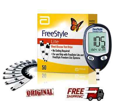 NEW FREESTYLE  FREEDOM LITE  BLOOD GLUCOSE TEST STRIPS -NO CODING - 50 stripes