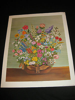 Patriotic Vase Filled W All Fifty State Flowers Of U S America  Xl Print Nmint