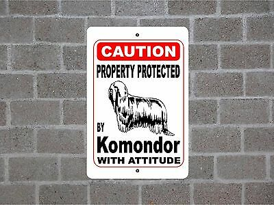 Property protected by Komondor dog breed with attitude metal sign #B