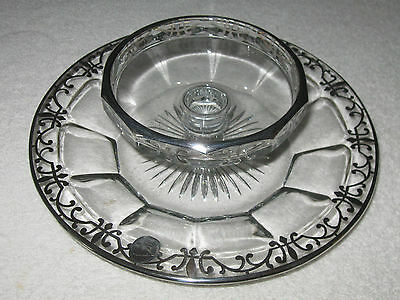 """Antique/Vintage Glass 2 Layer Serving Dish/Bowls With Silver Overlay Designs 9"""""""