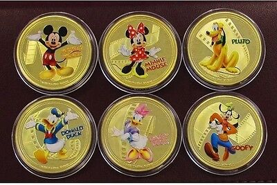Disney collectables coins set of 6 Finished In 24k Gold *Clearance* Medallions