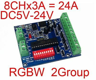 RGBW 8 Channel DMX Controller 2 Group 8CH 3A /CH Decoder For LED strip light