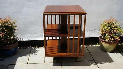 Large Edwardian 2 tier mahogany revolving bookcase,  robust and  clean