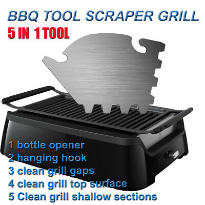 BBQ Scraper Tool Grill Cleaning 5 In 1 Multi Tool Bottle Opener Stainless Steel