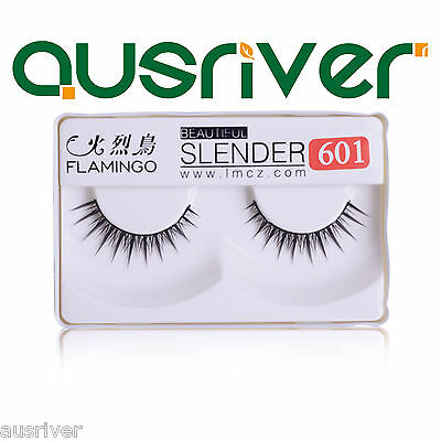 Handmade 1 Pair Natural Long Cross Thick False Eyelashes Makeup Eye Lashes #601