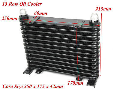 Universal Black 13 Row Upgrade Oil Cooler 250mm 175mm x 42mm AN-10 Thread