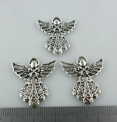 20//60pcs Tibetan Silver Angel Female Charms Pendant Crafts Jewelry 19x19.5mm