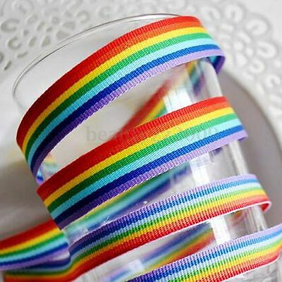 3m Rainbow Color Stripe Woven Grosgrain Ribbon Trim Double Sided For DIY Crafts