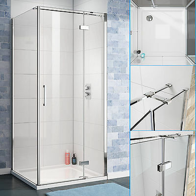 1950mm 8mm Hinged Pivot Shower Enclosure | Glass Door Cubicle Tray & Side Panel