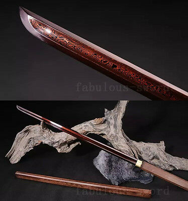 40'  Folded  Steel Red Full Tang Blade Tang Roos Wood Sword