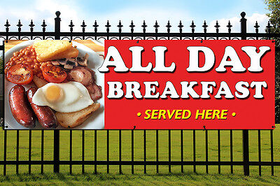 ALL DAY BREAKFAST PVC Banner Outdoor/Indoor Catering Sign Cafe Eyelets
