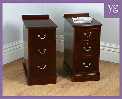 Pair Two 2 Antique Victorian Mahogany Bedside Chests Cupboards Cabinets Tables