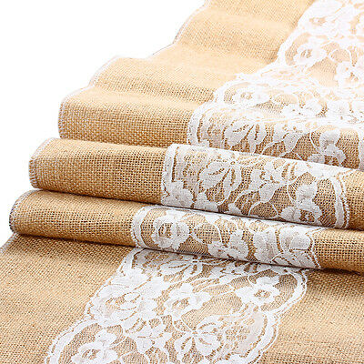 """11.5 x 96"""" Natural Brown Burlap Lace Hessian Table Runner Wedding Decoration"""
