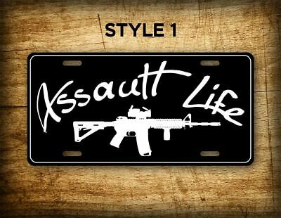 Assault Life License Plate Vanity Tag AR15 M4 AR-15 Rifle Scope Weapon Infidel A