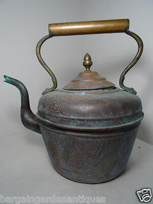 Antique Victorian 19th Century Copper Kettle Tableware Collectible