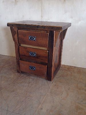 AMISH SOLID PINE Unfinished Rustic Chic Small 3 Drawer NIGHTSTAND//End Table
