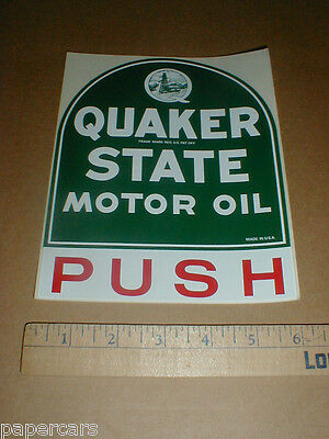 "Original QUAKER STATE Motor Oil Tombstone Decal sticker Vintage PUSH 1970s 7"" NM"