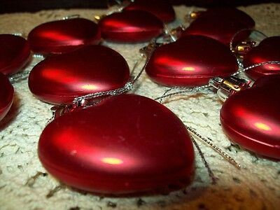 "New 12 Satin Finish Red 1 1/2"" Heart Valentine Ornaments For Feather Tree Molded"