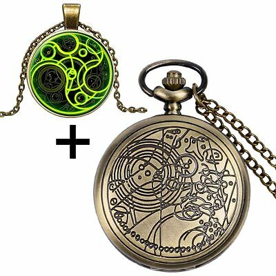 Doctor Who Design Necklace Pocket Watch Chain With Gift Box Full Hunter Cosplay