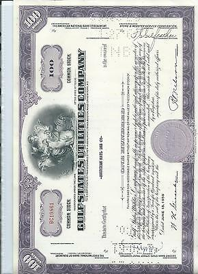 SHARE & BOND CERTIFICATE - GULF STATES UTILITIES COMPANY- PURPLE - 100 shares