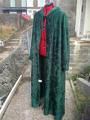 oversized bottle green Crushed Velvet   hooded cloak with sleeves. more colours