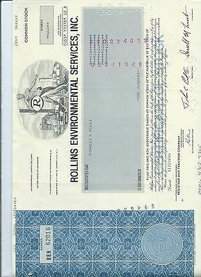 SHARE & BOND CERTIFICATE - ROLLINS ENVIRONMENTAL SERVICES inc