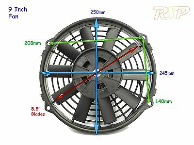 "9"" 12v UNIVERSAL ELECTRIC SLIM LINE COOLING RADIATOR  FAN TRACK RACE 9 INCH F/O"
