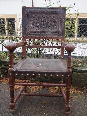 Unusual Victorian Flemish Tooled Leather Ornate Open Armchair/Carver Needs TLC